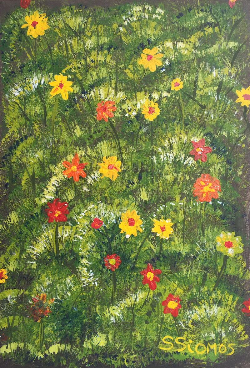 (CreativeWork) Field of Flowers by Stephanie Siomos. Acrylic Paint. Shop online at Bluethumb.