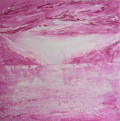 (CreativeWork) Pink Iced Lake by Stephanie Siomos. Acrylic Paint. Shop online at Bluethumb.