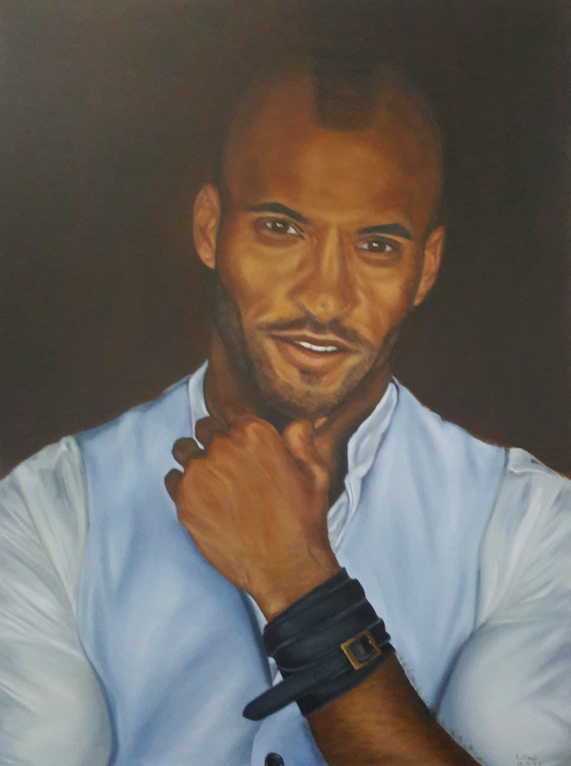 (CreativeWork) Ricky Whittle Oil Portrait By Lorenze Singh - D-Meista by Lorenze Singh. Oil Paint. Shop online at Bluethumb.