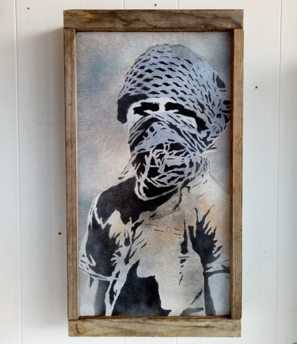 """(CreativeWork) """"Street Soldier' by Camo Streetart. arcylic-painting. Shop online at Bluethumb."""