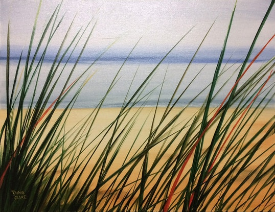 """(CreativeWork) """"Beach Grass 3"""" by David Clare. Oil Paint. Shop online at Bluethumb."""