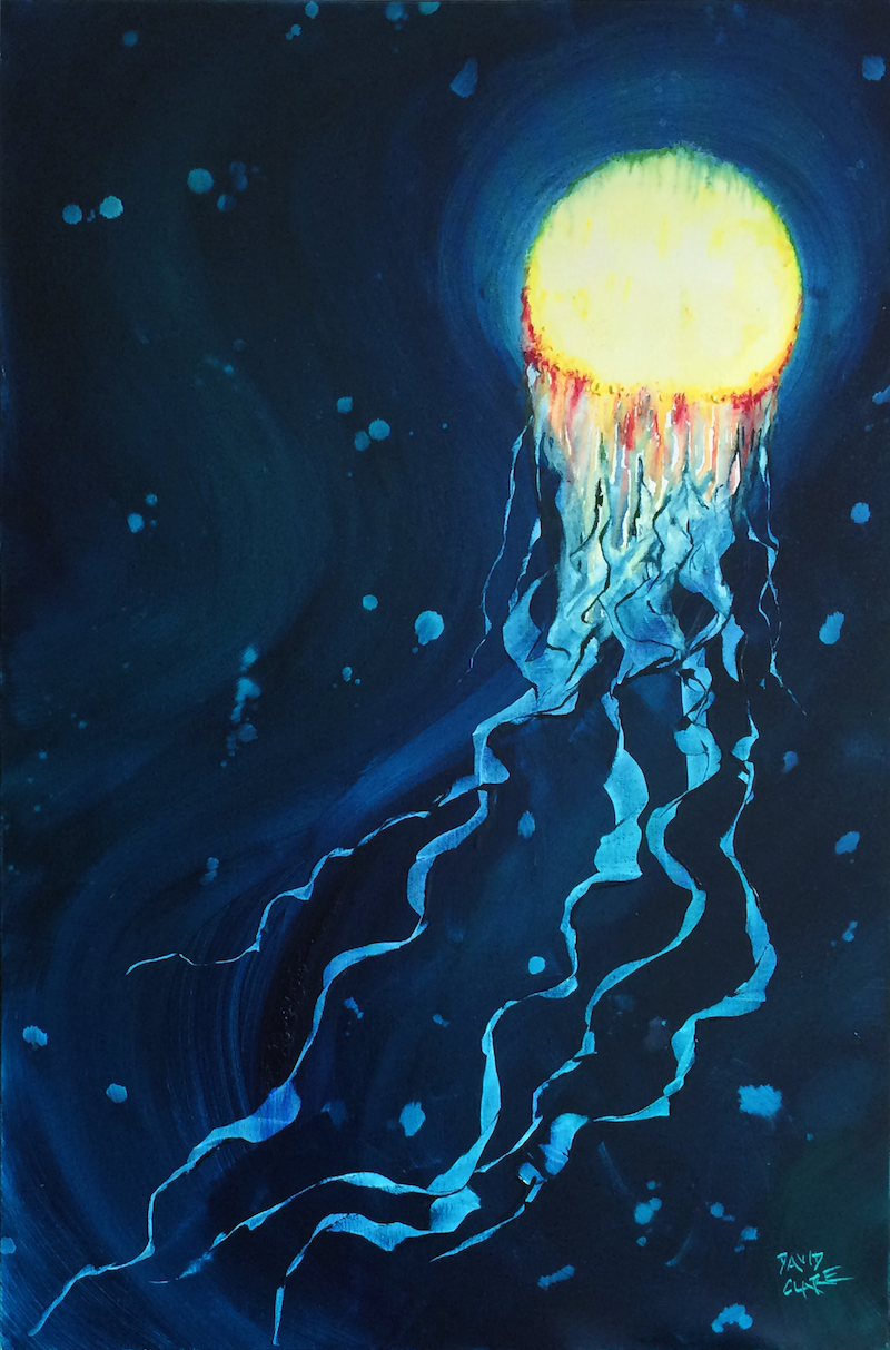 """(CreativeWork) """"Jellyfish"""" by David Clare. oil-painting. Shop online at Bluethumb."""