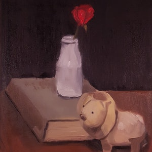 (CreativeWork) Still Life with Vase, Book and Lion by Rohan Skellams. oil-painting. Shop online at Bluethumb.
