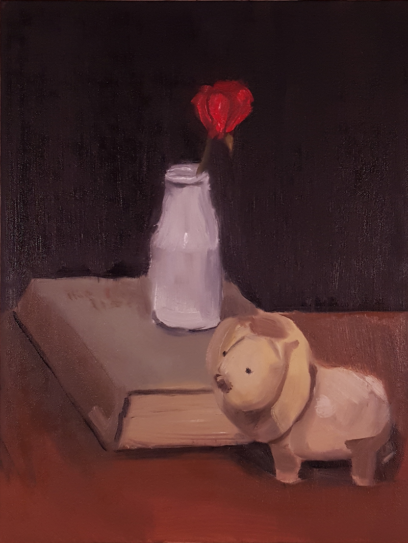 (CreativeWork) Still Life with Vase, Book and Lion by Rohan Skellams. Oil Paint. Shop online at Bluethumb.