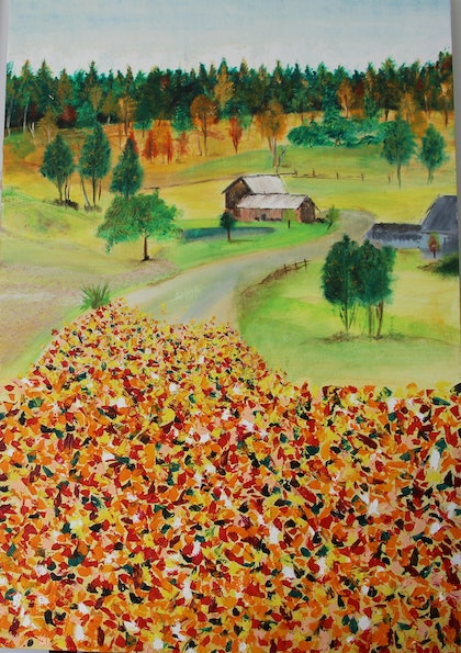 (CreativeWork) Autumn Days by Pinki Das. oil-painting. Shop online at Bluethumb.