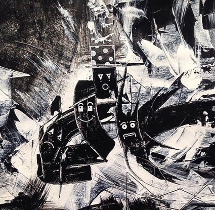 (CreativeWork) Charcoal chariot beings  by Paddy Duggan. Acrylic Paint. Shop online at Bluethumb.