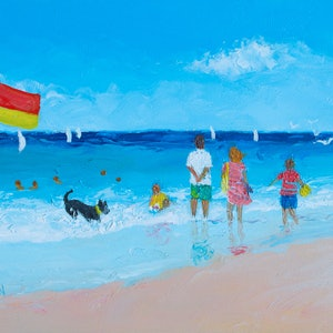 (CreativeWork) Happy Days - framed beach painting by Jan Matson. oil-painting. Shop online at Bluethumb.