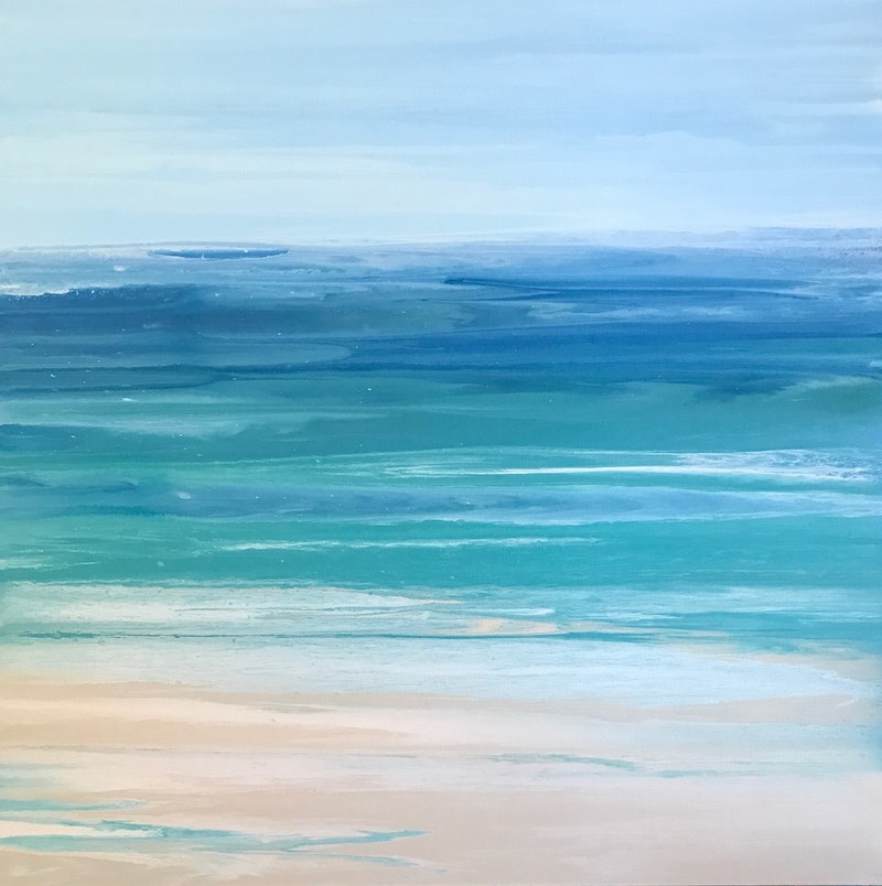 """Sold Original Abstract Painting Pearl White Blue Wall Art: ORIGINAL ABSTRACT ART PAINTING ON STRETCHED CANVAS """"OCEAN"""