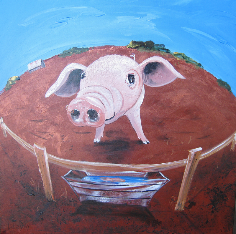 """(CreativeWork) """"Eat More Veggies"""" by Lily Day. acrylic-painting. Shop online at Bluethumb."""