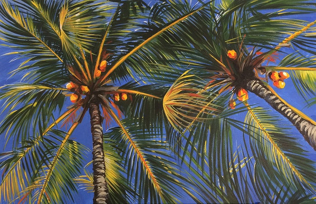 "(CreativeWork) ""Under The Palms"" by David Clare. Acrylic Paint. Shop online at Bluethumb."