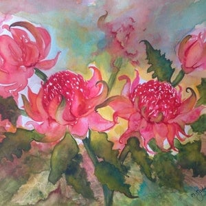 (CreativeWork) Beautiful Red Waratahs by Michael Giddens. watercolour. Shop online at Bluethumb.