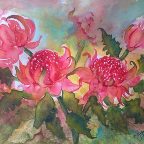 (CreativeWork) Beautiful Red Waratahs by Michael Giddens. Watercolour Paint. Shop online at Bluethumb.