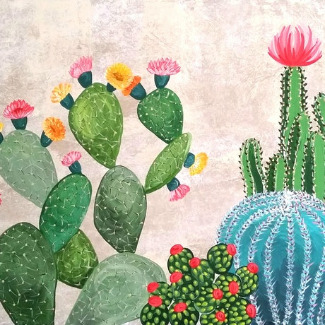 (CreativeWork) Cacti Gully  by Emily Lauro. Acrylic Paint. Shop online at Bluethumb.