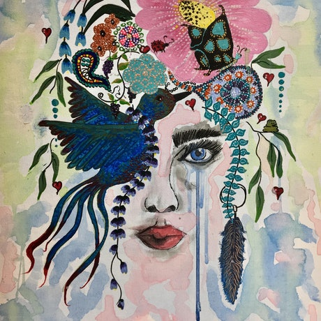 (CreativeWork) BOHEMIAN PRINCESS by April Lockwood. Mixed Media. Shop online at Bluethumb.