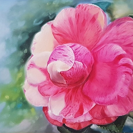 (CreativeWork) Sensual Camellia by Elena Valerie. Oil Paint. Shop online at Bluethumb.