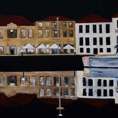 (CreativeWork) River's Edge, Hunter Street, Hobart by Christopher Johnston. Acrylic Paint. Shop online at Bluethumb.