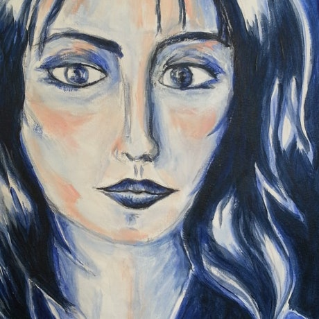 (CreativeWork) Woman in blue by Natalie Cartwright. Acrylic Paint. Shop online at Bluethumb.