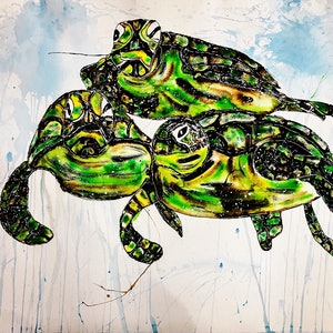 (CreativeWork) Turtle Trio by Leith Kennedy. mixed-media. Shop online at Bluethumb.
