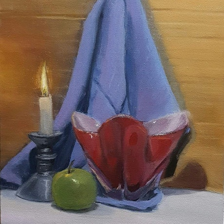(CreativeWork) Still Life with Candle, Vase and Apple by Rohan Skellams. Oil Paint. Shop online at Bluethumb.