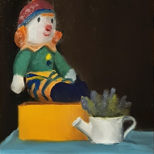 (CreativeWork) Clown Toy on a Box by Rohan Skellams. Oil Paint. Shop online at Bluethumb.