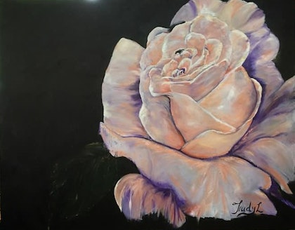 (CreativeWork) Rose bloom by Trudy Lowndes. oil-painting. Shop online at Bluethumb.