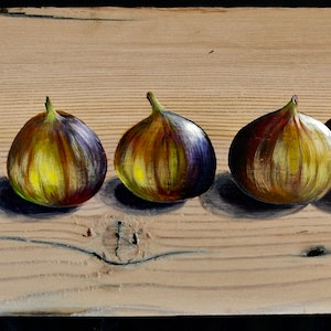 (CreativeWork) I Love A Ripe Fig by Carol Croad. arcylic-painting. Shop online at Bluethumb.