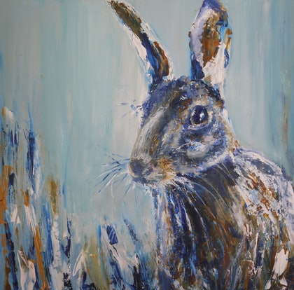 (CreativeWork) Resident Hare 2 by Angie Aubert. oil-painting. Shop online at Bluethumb.