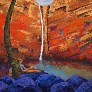 (CreativeWork) Relaxing at the Gorge by Tracey-Ann Morris. oil-painting. Shop online at Bluethumb.