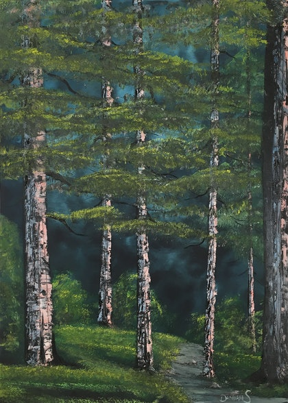 (CreativeWork) Magic in the woods by Damian Smith. oil-painting. Shop online at Bluethumb.