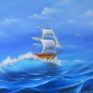 (CreativeWork) Sailing Ship by Evelina Pastilati. oil-painting. Shop online at Bluethumb.
