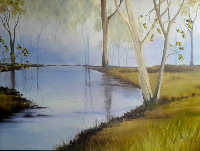 (CreativeWork) still waters by Janine Koefoed. oil-painting. Shop online at Bluethumb.