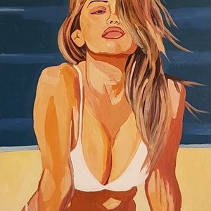 (CreativeWork) Beach Babe by David Foster. arcylic-painting. Shop online at Bluethumb.