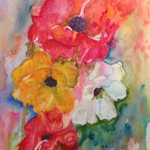 (CreativeWork) Flamboyant Poppies by Michael Giddens. watercolour. Shop online at Bluethumb.