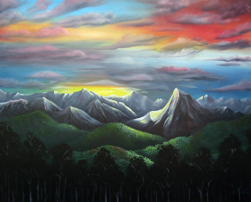 (CreativeWork) SUNSET OVER THE ALPS by Debra Dickson. arcylic-painting. Shop online at Bluethumb.