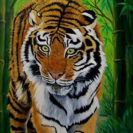 (CreativeWork) Tiger in Bamboo Forest by Brita Lee. Acrylic Paint. Shop online at Bluethumb.