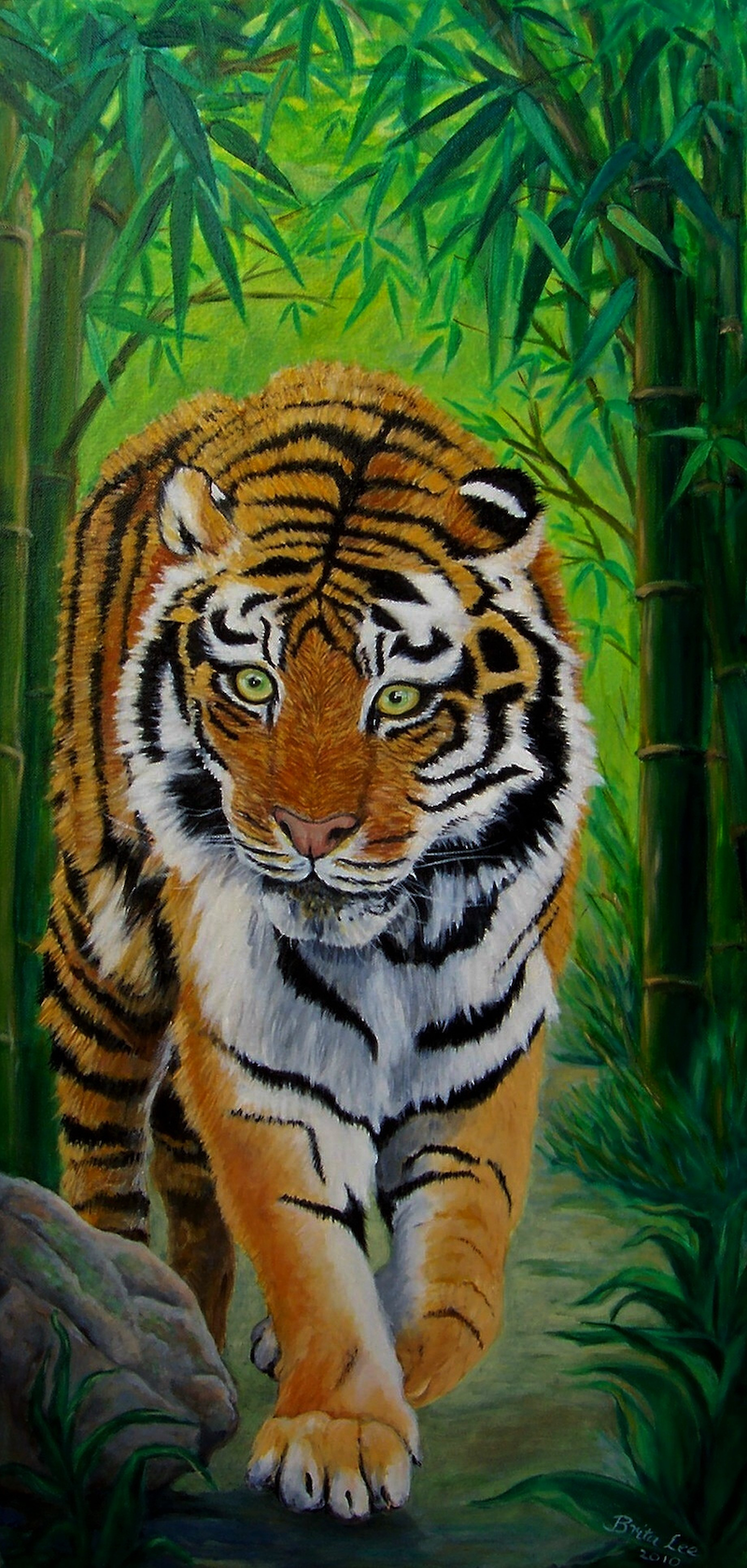Tiger In Bamboo Forest By Brita Lee