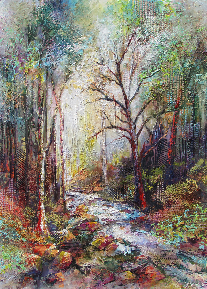 (CreativeWork) Respite Creek by De Gillett Cox. arcylic-painting. Shop online at Bluethumb.