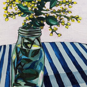 (CreativeWork) Wattle in flower by Kate Quinn. oil-painting. Shop online at Bluethumb.