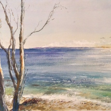 (CreativeWork) Coastal Burnoff , Great Sandy National Park, Noosa ,Queensland. by Geoff Stanistreet. Watercolour Paint. Shop online at Bluethumb.