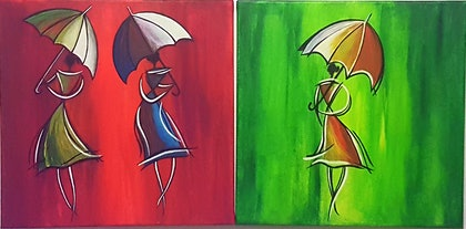 (CreativeWork) Ladies in the rain by Shoma Anand. arcylic-painting. Shop online at Bluethumb.