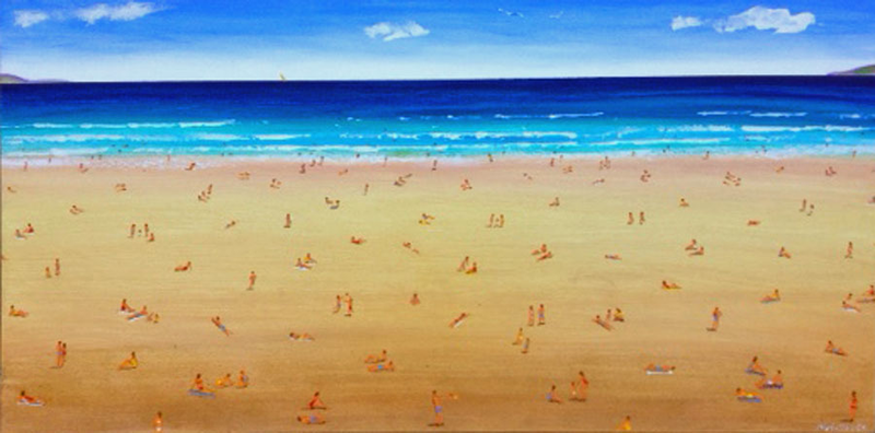 (CreativeWork) beach scene by Nigel Gillings. arcylic-painting. Shop online at Bluethumb.