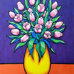 (CreativeWork) Pink Tulips in Yellow Vase by Olga Kolesnik. #<Filter:0x00007f97c05342d8>. Shop online at Bluethumb.