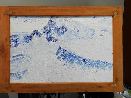 (CreativeWork) blue mountains in snow by james hou. arcylic-painting. Shop online at Bluethumb.