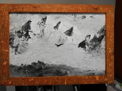 (CreativeWork) flying high above the mountains by james hou. arcylic-painting. Shop online at Bluethumb.