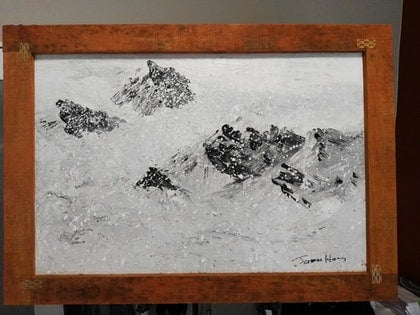 (CreativeWork) snow mountains by james hou. arcylic-painting. Shop online at Bluethumb.