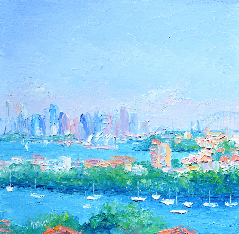 (CreativeWork) Sydney Harbour by Jan Matson. oil-painting. Shop online at Bluethumb.