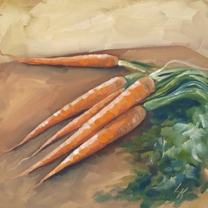 (CreativeWork) Carrots by Lucy Kay. oil-painting. Shop online at Bluethumb.