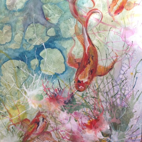 (CreativeWork) Koi Garden (Koi Series #3) by Michael Giddens. Watercolour Paint. Shop online at Bluethumb.
