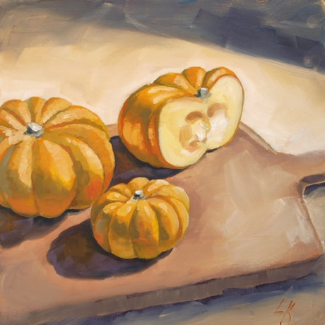 (CreativeWork) Mini Pumpkin by Lucy Kay. Oil. Shop online at Bluethumb.