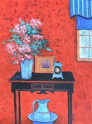 (CreativeWork) Red Interior by Jan Matson. Oil Paint. Shop online at Bluethumb.